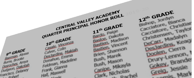 CVA announces 4th quarter honor roll