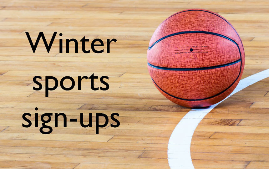 basketball & text: winter sports sign ups